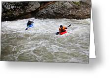 Two Kayakers Carry Their Boats Greeting Card