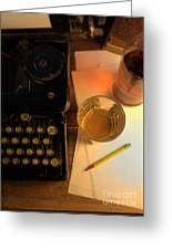 Typewriter And Whiskey Greeting Card