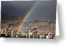 Urban Rainbow La Paz Bolivia Greeting Card