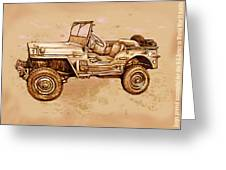 Us Army Jeep In World War 2 - Stylised Modern Drawing Art Sketch Greeting Card