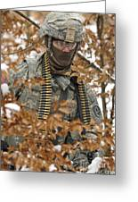 U.s. Army Soldier Conducts A Dismounted Greeting Card