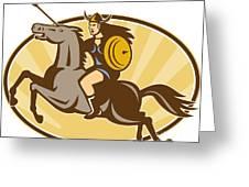 Valkyrie Riding Horse Retro Greeting Card