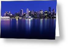 Vancouver Skyline At Night, British Greeting Card