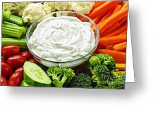 Vegetables And Dip Greeting Card