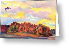 View Of Goat Island From Clackamette Park Greeting Card