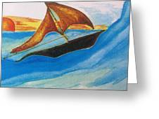 Viking Sailboat Greeting Card by Debbie Nester