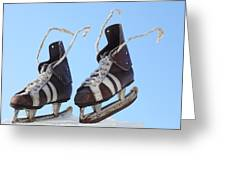 Vintage Pair Of Mens  Skates  Greeting Card by Mikhail Olykaynen