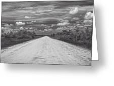 Wagon Wheel Road Bw Greeting Card