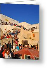 Waiting For The Sunset In Oia Town Greeting Card