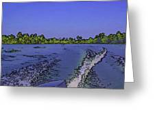 Wake From The Wash Of An Outboard Motor Greeting Card