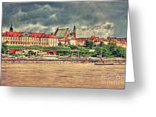Warsaw View Of The Royal Castle Hdr Greeting Card