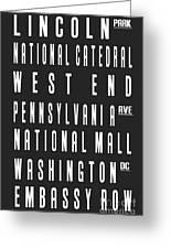 Washington City Subway Sign Greeting Card