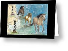 Wild Mustang Horses Outer Banks Lighthouses Nautical Chart Map Art Greeting Card