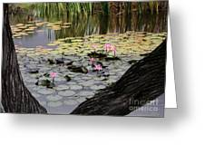 Wild Water Lilies In The River Greeting Card
