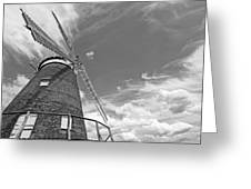 Windmill In The Sky In Black And White Greeting Card