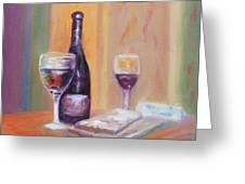 Wine And Blue Cheese Greeting Card