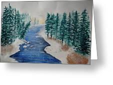 Winter River Scene Greeting Card