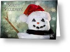 Winter Snowman Greeting Card by Cindy Singleton