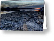 Winter Sunset On The Lake Greeting Card