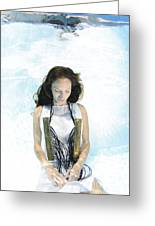 Woman Floats Underwater  Greeting Card