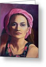 Woman In A Pink Turban Greeting Card