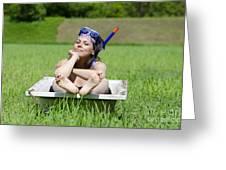 Woman Lying In A Bathtub Greeting Card