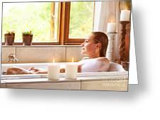 Woman Taking Bath Greeting Card