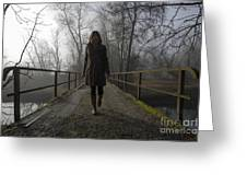 Woman Walking On A Bridge Greeting Card