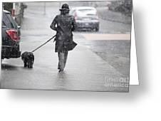 Woman Walking On The Street Greeting Card