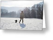 Woman With Her Dog Greeting Card