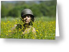 Woman With Military Helmet Greeting Card