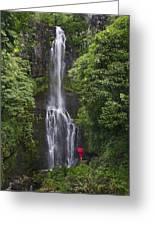 Woman With Umbrella At Wailua Falls Greeting Card
