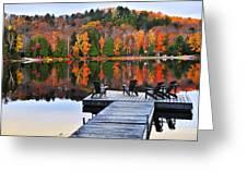 Wooden Dock On Autumn Lake Greeting Card by Elena Elisseeva