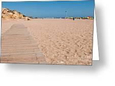 Wooden Walkway On Beach Greeting Card