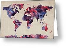 World Map Watercolor Greeting Card by Michael Tompsett