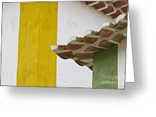 Yellow And Green Lines To The Roofs Greeting Card