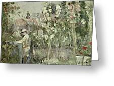 Young Boy In The Hollyhocks Greeting Card