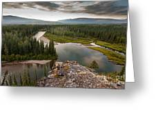 Yukon Canada Taiga Wilderness And Mcquesten River Greeting Card