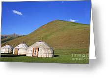 Yurts In The Tash Rabat Valley Of Kyrgyzstan  Greeting Card