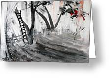 2013 058 Tree And Ladder Alexandria Virginia Silver Black White Red Greeting Card