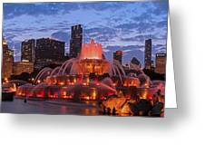 2013 Chicago Blackhawks Skyline Greeting Card by Jeff Lewis