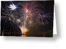 2013 Independence Day Fireworks Display On Portland Oregon Water Greeting Card