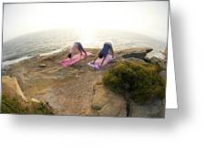 A Man And Woman Practicing Yoga Greeting Card