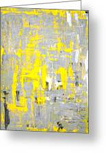 Imagination - Grey And Yellow Abstract Art Painting Greeting Card