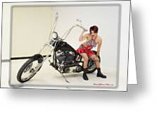 Models And Motorcycles Greeting Card