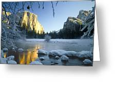 2m6538-yosemite Valley In Winter Greeting Card