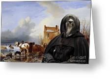 Tibetan Terrier Art Canvas Print Greeting Card