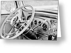 1933 Pontiac Steering Wheel -0463bw Greeting Card