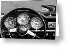 1961 Alfa Romeo Giulietta Spider Steering Wheel Emblem -1185bw Greeting Card