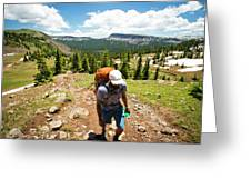 A Backpacker Hiking Greeting Card